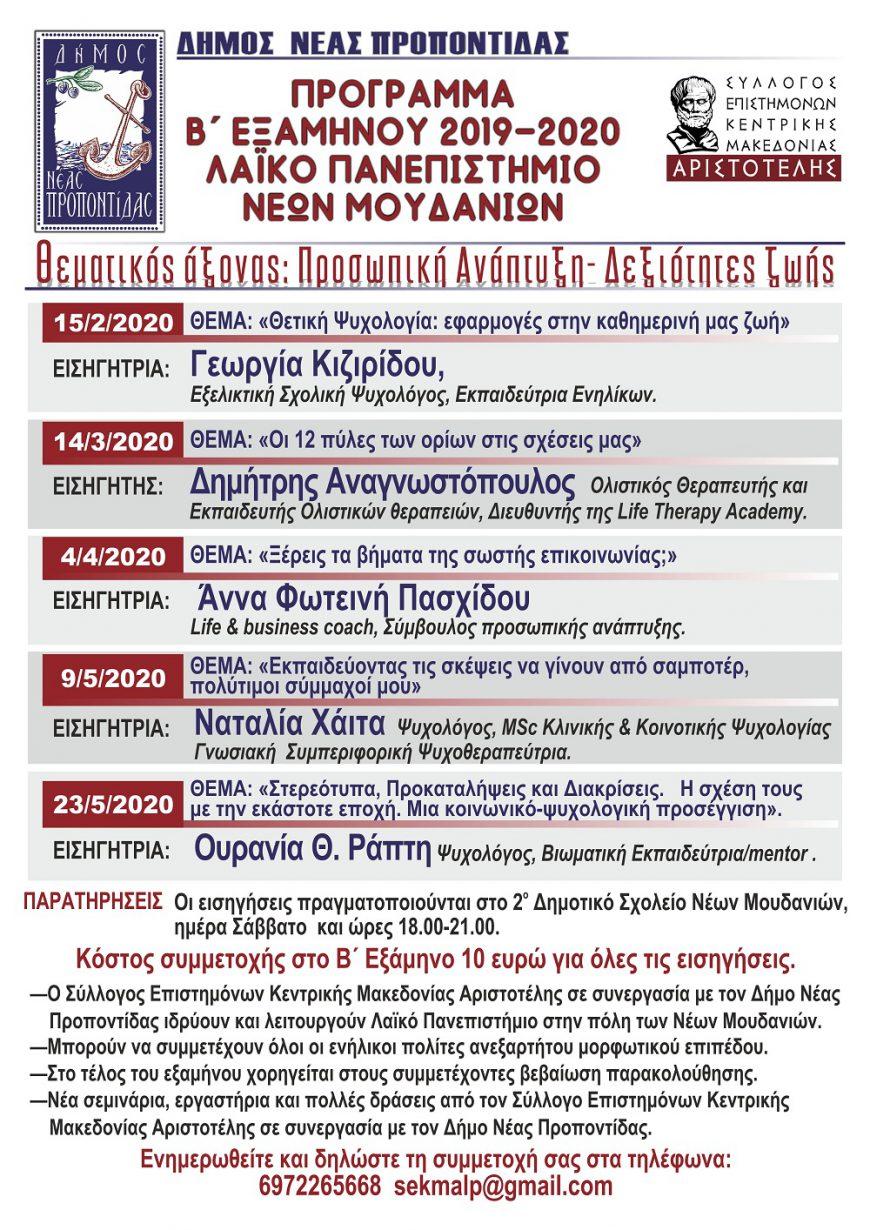 Πρόγραμμα Β΄ Εξαμήνου 2019-2020, Λαικό Πανεπιστήμιο Νέων Μουδανιών